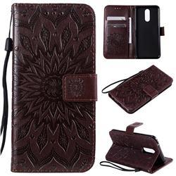 Embossing Sunflower Leather Wallet Case for LG K40 (LG K12+, LG K12 Plus) - Brown