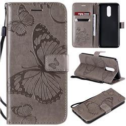 Embossing 3D Butterfly Leather Wallet Case for LG K40 (LG K12+, LG K12 Plus) - Gray