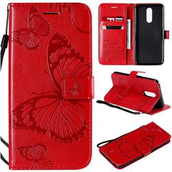 Embossing 3D Butterfly Leather Wallet Case for LG K40 (LG K12+, LG K12 Plus) - Red