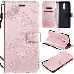 Embossing 3D Butterfly Leather Wallet Case for LG K40 (LG K12+, LG K12 Plus) - Rose Gold