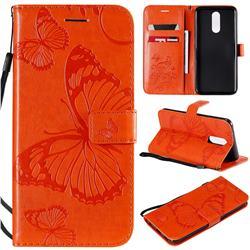 Embossing 3D Butterfly Leather Wallet Case for LG K40 (LG K12+, LG K12 Plus) - Orange