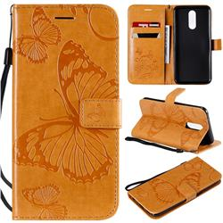 Embossing 3D Butterfly Leather Wallet Case for LG K40 (LG K12+, LG K12 Plus) - Yellow