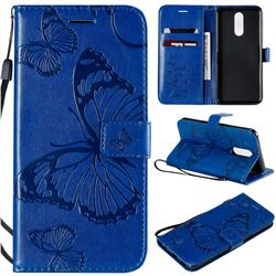 Embossing 3D Butterfly Leather Wallet Case for LG K40 (LG K12+, LG K12 Plus) - Blue