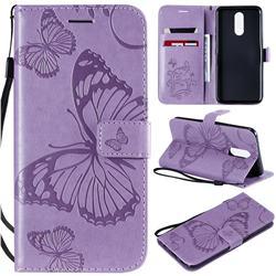 Embossing 3D Butterfly Leather Wallet Case for LG K40 (LG K12+, LG K12 Plus) - Purple