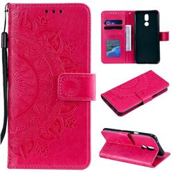 Intricate Embossing Datura Leather Wallet Case for LG K40 (LG K12+, LG K12 Plus) - Rose Red