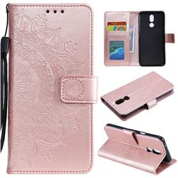Intricate Embossing Datura Leather Wallet Case for LG K40 (LG K12+, LG K12 Plus) - Rose Gold