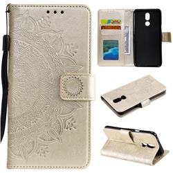 Intricate Embossing Datura Leather Wallet Case for LG K40 (LG K12+, LG K12 Plus) - Golden