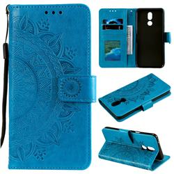 Intricate Embossing Datura Leather Wallet Case for LG K40 (LG K12+, LG K12 Plus) - Blue