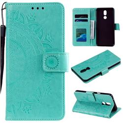 Intricate Embossing Datura Leather Wallet Case for LG K40 (LG K12+, LG K12 Plus) - Mint Green