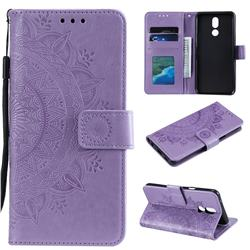 Intricate Embossing Datura Leather Wallet Case for LG K40 (LG K12+, LG K12 Plus) - Purple