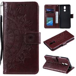Intricate Embossing Datura Leather Wallet Case for LG K40 (LG K12+, LG K12 Plus) - Brown