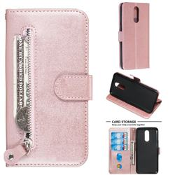 Retro Luxury Zipper Leather Phone Wallet Case for LG K40 (LG K12+, LG K12 Plus) - Pink