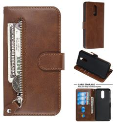 Retro Luxury Zipper Leather Phone Wallet Case for LG K40 (LG K12+, LG K12 Plus) - Brown