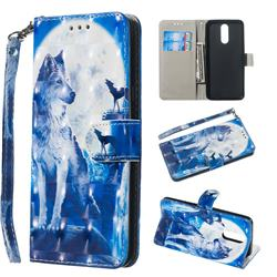 Ice Wolf 3D Painted Leather Wallet Phone Case for LG K40 (LG K12+, LG K12 Plus)