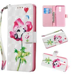 Flower Panda 3D Painted Leather Wallet Phone Case for LG K40 (LG K12+, LG K12 Plus)