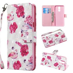 Flamingo 3D Painted Leather Wallet Phone Case for LG K40 (LG K12+, LG K12 Plus)