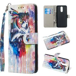 Watercolor Owl 3D Painted Leather Wallet Phone Case for LG K40 (LG K12+, LG K12 Plus)