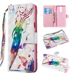Music Pen 3D Painted Leather Wallet Phone Case for LG K40 (LG K12+, LG K12 Plus)