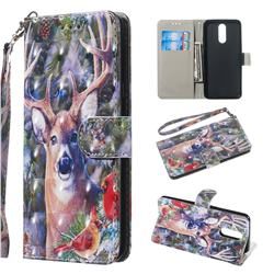 Elk Deer 3D Painted Leather Wallet Phone Case for LG K40 (LG K12+, LG K12 Plus)