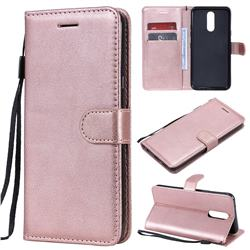 Retro Greek Classic Smooth PU Leather Wallet Phone Case for LG K40 (LG K12+, LG K12 Plus) - Rose Gold