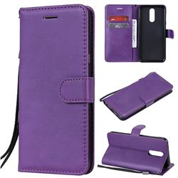 Retro Greek Classic Smooth PU Leather Wallet Phone Case for LG K40 (LG K12+, LG K12 Plus) - Purple