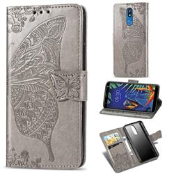 Embossing Mandala Flower Butterfly Leather Wallet Case for LG K40 (LG K12+, LG K12 Plus) - Gray