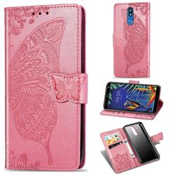 Embossing Mandala Flower Butterfly Leather Wallet Case for LG K40 (LG K12+, LG K12 Plus) - Pink