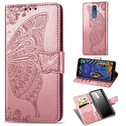 Embossing Mandala Flower Butterfly Leather Wallet Case for LG K40 (LG K12+, LG K12 Plus) - Rose Gold