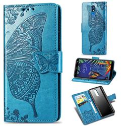 Embossing Mandala Flower Butterfly Leather Wallet Case for LG K40 (LG K12+, LG K12 Plus) - Blue