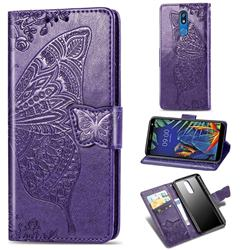 Embossing Mandala Flower Butterfly Leather Wallet Case for LG K40 (LG K12+, LG K12 Plus) - Dark Purple