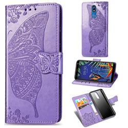 Embossing Mandala Flower Butterfly Leather Wallet Case for LG K40 (LG K12+, LG K12 Plus) - Light Purple