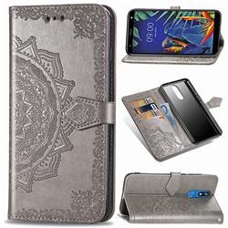 Embossing Imprint Mandala Flower Leather Wallet Case for LG K40 (LG K12+, LG K12 Plus) - Gray