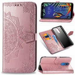 Embossing Imprint Mandala Flower Leather Wallet Case for LG K40 (LG K12+, LG K12 Plus) - Rose Gold