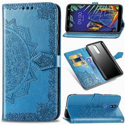 Embossing Imprint Mandala Flower Leather Wallet Case for LG K40 (LG K12+, LG K12 Plus) - Blue