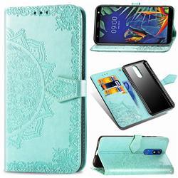 Embossing Imprint Mandala Flower Leather Wallet Case for LG K40 (LG K12+, LG K12 Plus) - Green