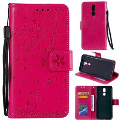 Embossing Cherry Blossom Cat Leather Wallet Case for LG K40 (LG K12+, LG K12 Plus) - Rose