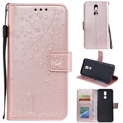 Embossing Cherry Blossom Cat Leather Wallet Case for LG K40 (LG K12+, LG K12 Plus) - Rose Gold