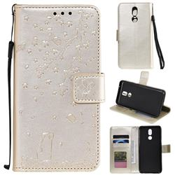 Embossing Cherry Blossom Cat Leather Wallet Case for LG K40 (LG K12+, LG K12 Plus) - Golden