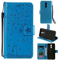 Embossing Cherry Blossom Cat Leather Wallet Case for LG K40 (LG K12+, LG K12 Plus) - Blue