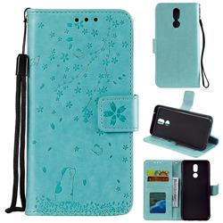 Embossing Cherry Blossom Cat Leather Wallet Case for LG K40 (LG K12+, LG K12 Plus) - Green