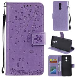 Embossing Cherry Blossom Cat Leather Wallet Case for LG K40 (LG K12+, LG K12 Plus) - Purple