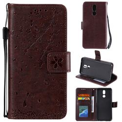 Embossing Cherry Blossom Cat Leather Wallet Case for LG K40 (LG K12+, LG K12 Plus) - Brown
