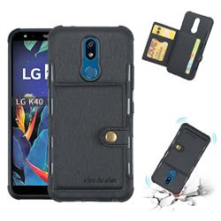 Brush Multi-function Leather Phone Case for LG K40 (LG K12+, LG K12 Plus) - Black