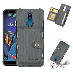Brush Multi-function Leather Phone Case for LG K40 (LG K12+, LG K12 Plus) - Gray