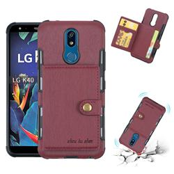 Brush Multi-function Leather Phone Case for LG K40 (LG K12+, LG K12 Plus) - Wine Red