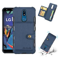 Brush Multi-function Leather Phone Case for LG K40 (LG K12+, LG K12 Plus) - Blue