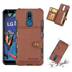 Brush Multi-function Leather Phone Case for LG K40 (LG K12+, LG K12 Plus) - Brown