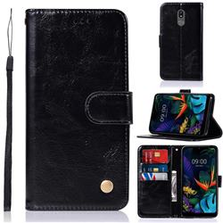 Luxury Retro Leather Wallet Case for LG K40 (LG K12+, LG K12 Plus) - Black