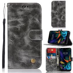 Luxury Retro Leather Wallet Case for LG K40 (LG K12+, LG K12 Plus) - Gray