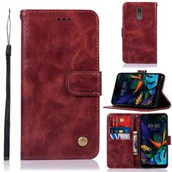 Luxury Retro Leather Wallet Case for LG K40 (LG K12+, LG K12 Plus) - Wine Red
